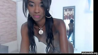 This slim ebony teen knows how to dance and she needs some dick already