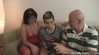 Perverted parents lure their son\'s GF into threesome