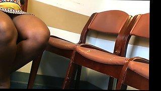 Pregnant African French Lady Voyeur Upskirt Sitting