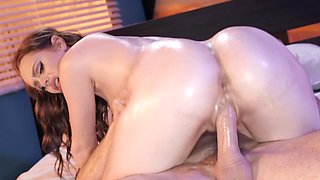 Oiling up Ella Hughes and fucking the hot redhead