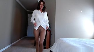 JessRyan Sheer Pantyhose Striptease And Dildo Fun in private premium video