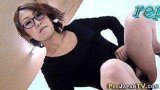 Asians pee in close up for fetish voyeur