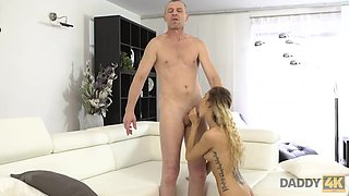 DADDY4K. Naughty dad unexpectedly seduces son's new young girlfriend
