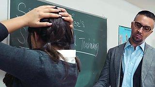 Strict teacher dominates over obedient school girl