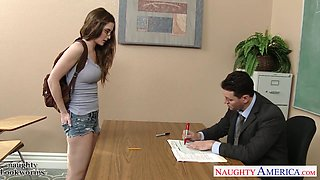 Handsome young teacher fucks goody-goody Molly Jane in mouth and pussy