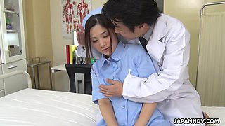 Japanese nurse Anna Kimijima is fucked and creampied by kinky doctor