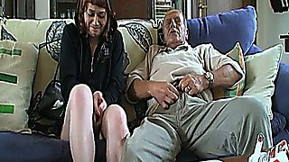 Horny dad and son take mom and gf for hot orgy
