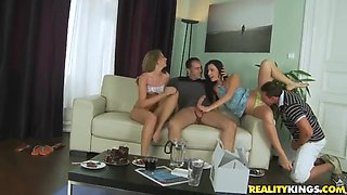 Leyla and Gina bring their dudes to have a tough and fancy group orgy