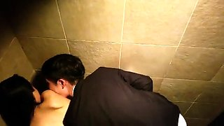 Horny Asian teen gets rammed doggystyle in a public toilet