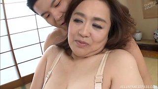 Chubby Hayama Nobuko enjoys having passionate sex on the bed