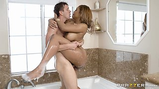 Bathroom fuck with insatiable busty ebony slut Moriah Mills