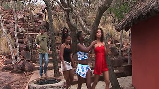 Several kinky dudes fuck wild African bitches and make them eat semen