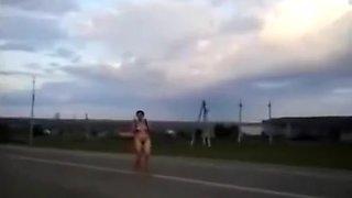 Mature drunk woman walking naked