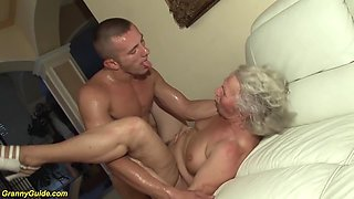 Big natural breast 77 years old granny gets extreme rough big cock fucked by her toyboy