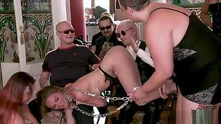Slave in mix group public torment