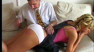 Amelia gets a classic otk barebottom spanking