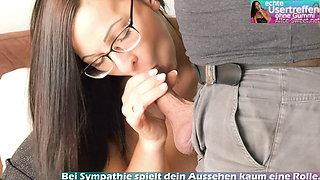 German skinny secretary milf get cum on glasses
