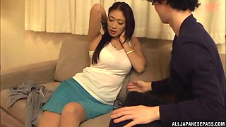 Pretty Japanese model with nice tits is screwed on the comfy bed