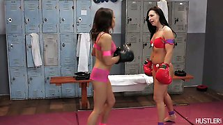 Two hot chicks square up for sexy wrestling
