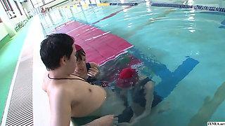 Japanese schoolgirls give swim coach underwater blowjob