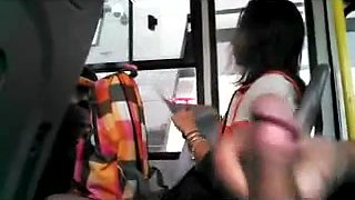 WTF! check dat mate Spanking da monkey on da bus near a gurl