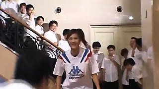 Naughty Asian teen Azusa Ayano gangbanged in hot bukkake
