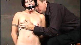 European BDSM play where naked guy