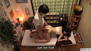 Japanese massage for virgin teen leads to sex on table