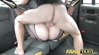 Hot Blonde likes older men in backseat of cab