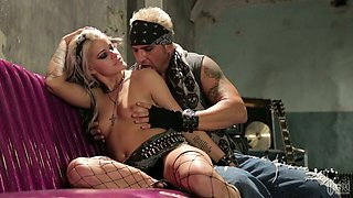 Seductive tattooed babe is smoking and getting fucked