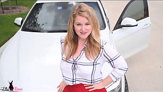 Curvaceous cougar shows her car and her big tits in lingerie