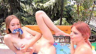 Lesbian sucking my tits and 69 in public park