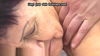 Chubby granny blowing younger dick outdoors