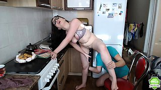 Nerdy Russian teen gets drilled doggystyle in the kitchen