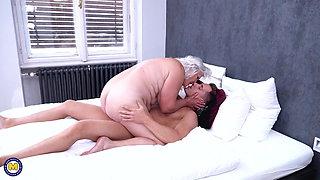 Granny blows and fucks young pervert boy