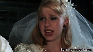 Goth bride facialized