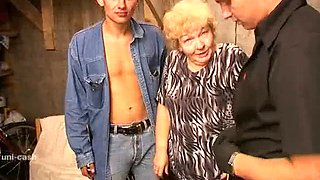 Blonde russian granny is screwed in the garage