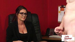Spex office babe dominates over naked sub