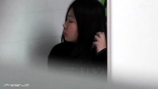 Public toilet voyeur spies on lovely Oriental babes pissing