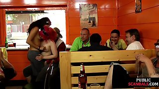Public sub eaten out by dom in front of guys