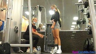 Hot Slim Fit Skinny Blonde Twin Sisters in Tight Spandex