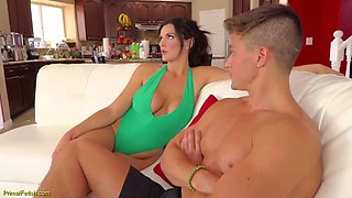 Beautiful milf with big tits is eager to have casual sex with her handsome step- son