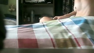 Old woman spied in bedroom drying her body