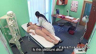 Hot dark haired nurse licks patient