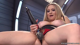 Huge boobs blonde milf takes machine