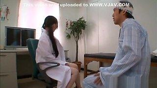 Anna Natsuki naughty Asian nurse gives blowjob, gets cum on her face