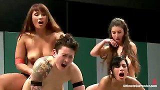 Tag team lesbian wrestling
