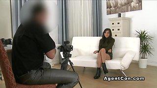 Hairy amateur fucks fake agent casting european