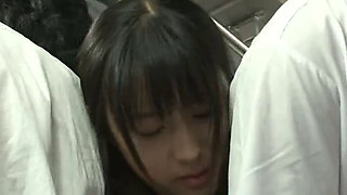 Japanese student in uniform gaped at the bus
