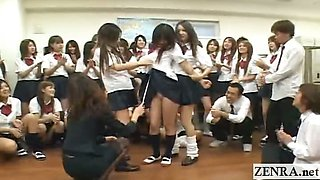Subtitled ENF Japanese schoolgirl strips nude in class